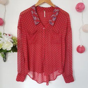FREE PEOPLE red paisley rider sheer blouse